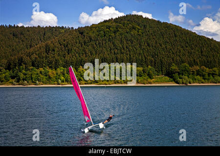sailing catamaran on the Biggesee, Germany, North Rhine-Westphalia, Sauerland, Attendorn - Stock Photo