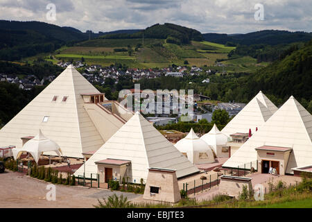 Sauerland Pyramids in front of the district Meggen, Germany, North Rhine-Westphalia, Sauerland, Lennestadt-Bilstein - Stock Photo