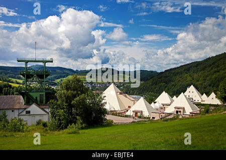 mining museum Siciliaschacht and Sauerland-Pyramiden in front of the district Meggen, Germany, North Rhine-Westphalia, - Stock Photo