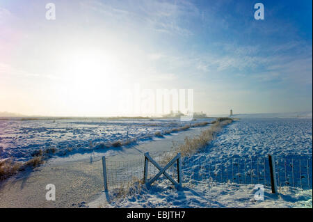 Pilsum lighthouse in winter, Germany, Lower Saxony, East Frisia, Pilsum - Stock Photo