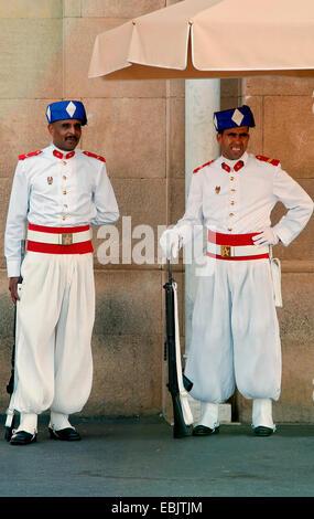 Royal Guard at the Kings Palace in Rabat, Morocco, Rabat - Stock Photo