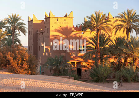 desert hotel in Mhamid oasis in morning light, Morocco, Suedmarokko, Wueste, Mhamid-el-Ghizlane - Stock Photo
