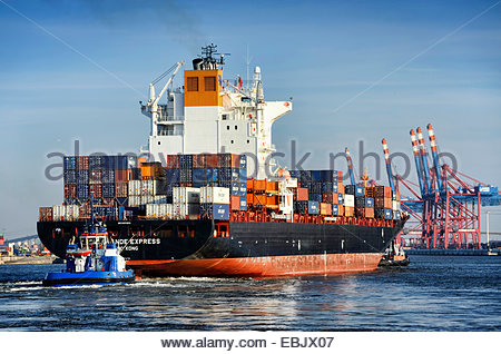 cargo ship Rio Grande Express at the Waltershofer Hafen, Germany, Hamburg - Stock Photo