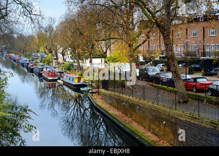 Narrowboats at Little Venice - Blomfield Road, London - autumn day by the Regent's Canal in west London - Stock Photo