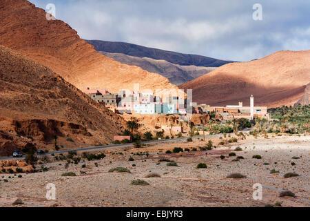 village in a valley, Morocco, Tata, Antiatlas - Stock Photo
