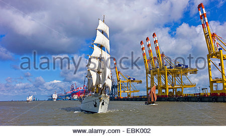 sailing ship Gorch Fock in front of container terminal, Germany, Bremerhaven - Stock Photo