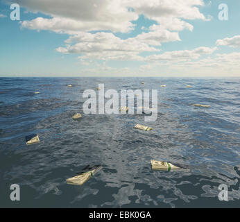 Large group of one hundred dollar bill stacks floating on surface of sea - Stock Photo