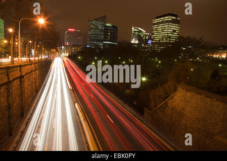 evening traffic in Brussels, Belgium, Brussels - Stock Photo