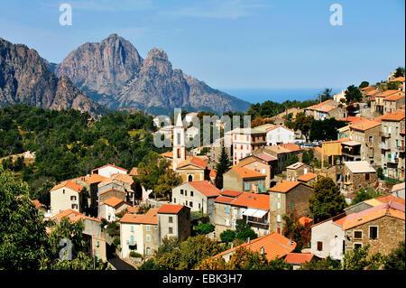 view to village of Evisa, France, Corsica, Evisa - Stock Photo