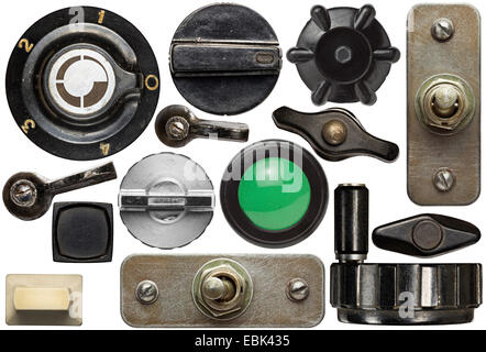 Various old device knobs, handles, buttons,switches - Stock Photo