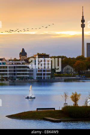 sailing boat on Lake Phoenix in front of the Hoerder Burg and the television tower Florian at sunset, Germany, North - Stock Photo