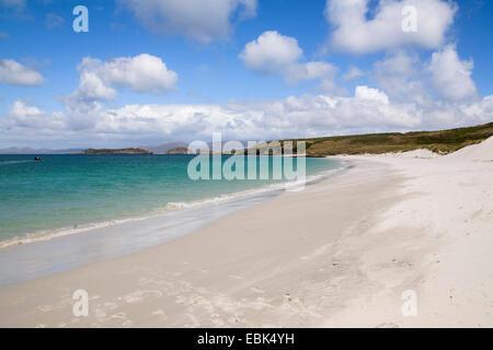 panoramic view over sand beach, Falkland Islands, West Falklands, Carcass Island - Stock Photo