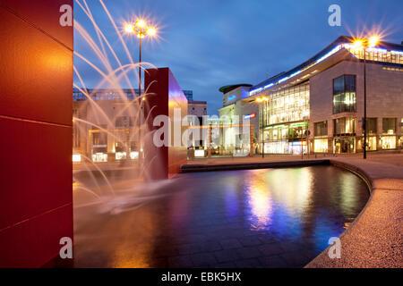 modern fountain at Hansaplatz in twilight, Germany, North Rhine-Westphalia, Ruhr Area, Dortmund - Stock Photo