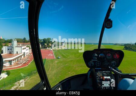 Aerial view of San Nicolo airport, Lido island,  Venice lagoon, Italy, Europe - Stock Photo