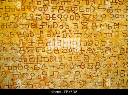 glagolitic inscription on a stone in Valun, Croatia, Insel Cres - Stock Photo