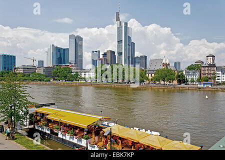 view over the Main at the skyline, Germany, Hesse, Frankfurt am Main - Stock Photo