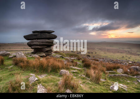 The Cheesewring a rocky outcrop of granite near the Minions on Bodmin Moor in Cornwall - Stock Photo