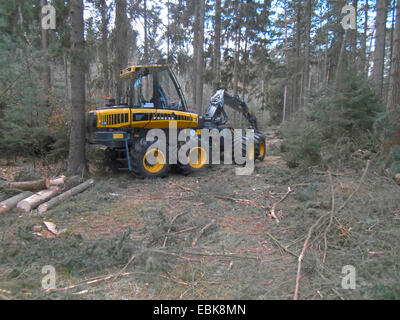 harverster machine in a conifer forest, Germany, Lower Saxony - Stock Photo