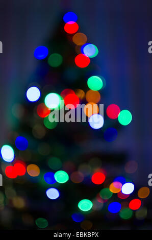 Defocused Christmas Tree with Colorful Lights 1 - Stock Photo