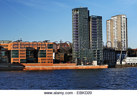 office buildings Holzhafen West and residential tower Kristall, Germany, Hamburg - Stock Photo