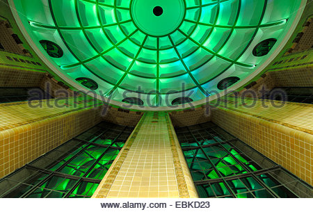 inside the Old Elbe Tunnel, view to the top into the dome at the north exit, Germany, Hamburg - Stock Photo