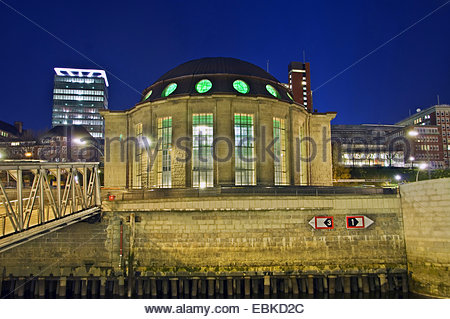 Old Elbe Tunnel, Germany, Hamburg - Stock Photo