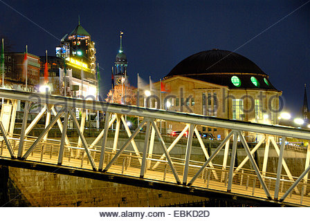 Old Elbe Tunnel and St. Michaelis Church, Germany, Hamburg - Stock Photo