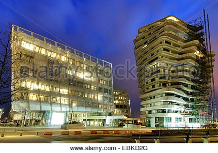 residental tower Marco Polo Tower and Unilever head office in the HafenCity, Germany, Hamburg - Stock Photo