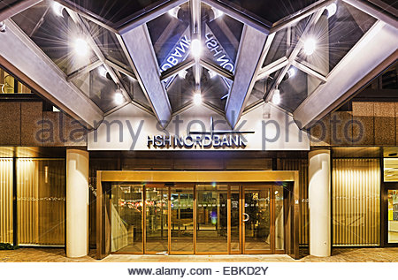 entrance of a bank building on Gerhart Hauptmann Place, Germany, Hamburg - Stock Photo