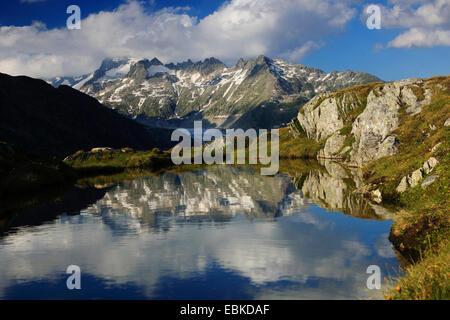Swiss Alps in summer with view from Grimsel Pass, Rhone glacier, Gallenstock, 3586 m, Switzerland, Valais - Stock Photo