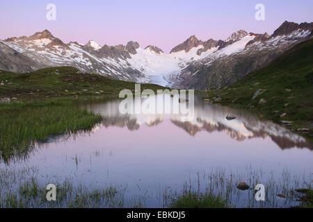 Swiss Alps in Sommer at Grimsel Pass, Oberaargletscher, Oberaarhorn, 3638 m, Finsteraarhorn, 4274m, Switzerland, - Stock Photo