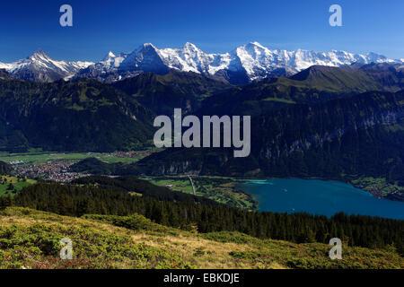 Swiss Alp, view from Niederhorn at Lauterbrunnen and Lake Thun, Eiger, 3974 m, Moench, 4099 m, Jungfrau, 4158m, - Stock Photo