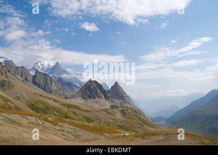 view from Col de la Seigne (France/Italy) to teh Val Veny (Italy), with Mont Blanc and Pyramides Calcaires, France - Stock Photo