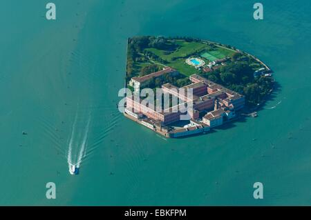Aerial view of San Clemente island, Venice island, Italy, Europe - Stock Photo