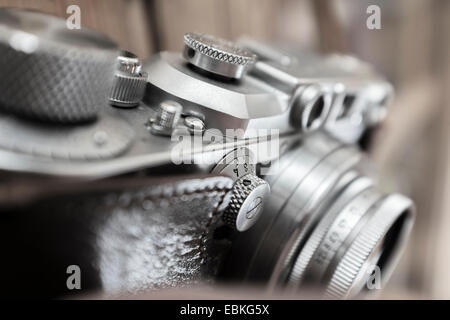 Leica 35mm rangefinder camera in a two piece leather case. - Stock Photo