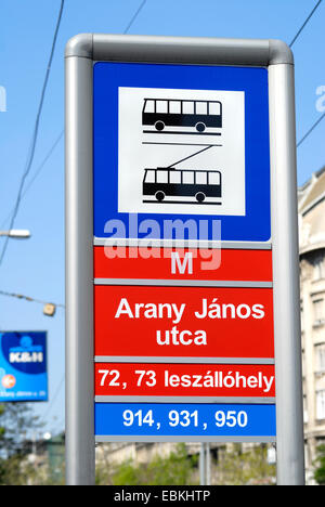 Budapest, Hungary. Bus and Trolleybus stop sign in Arany Janos utca (street) - Stock Photo