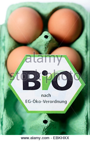 hen�s eggs with organic certification in egg box - Stock Photo