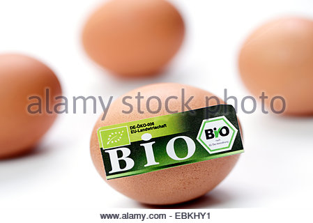 hen's eggs with organic certification - Stock Photo