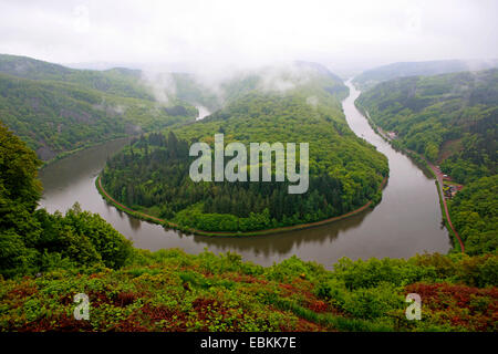 view from Cloef to Saar river band at Mettlach, Germany, Saarland, Cloef, Mettlach - Stock Photo