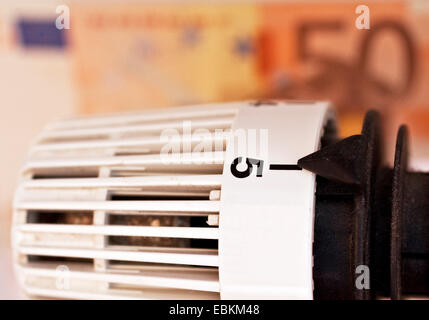 radiator thermostat and bank notes, symbol picture for heating costs, Germany - Stock Photo