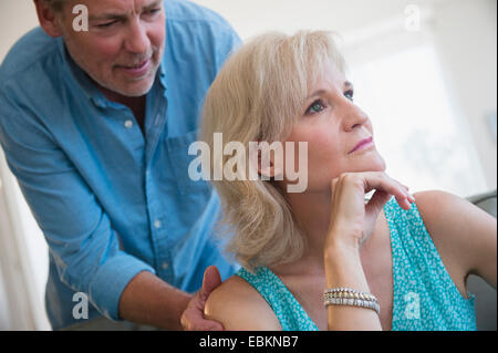 Portrait of couple experiencing relationship difficulties - Stock Photo