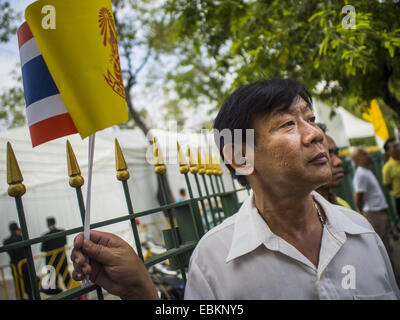 Bangkok, Thailand. 2nd Dec, 2014. A man watches military units march down Ratchadamnoen Ave during the Trooping - Stock Photo