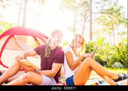 USA, Florida, Tequesta, Coupe sitting in front of tent - Stock Photo