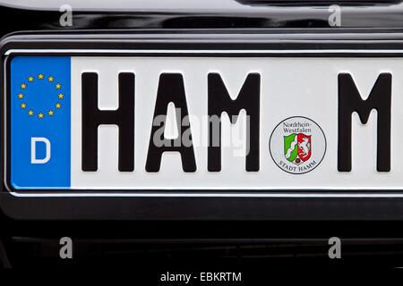licence plate HAM M, Germany, North Rhine-Westphalia, Ruhr Area, Hamm - Stock Photo