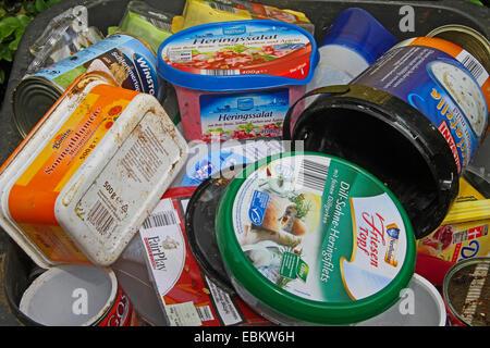 plastic waste in recycling bin, Germany - Stock Photo