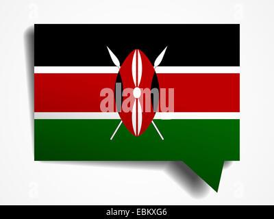 Kenya flag paper 3d realistic speech bubble on white background - Stock Photo