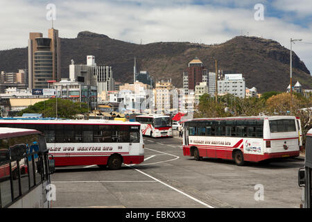 Mauritius, Port Louis, downtown city skyline from Bus Station, below Montaigne des Signaux - Stock Photo