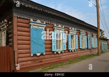 Wooden house in Irkutsk, Siberia - Stock Photo
