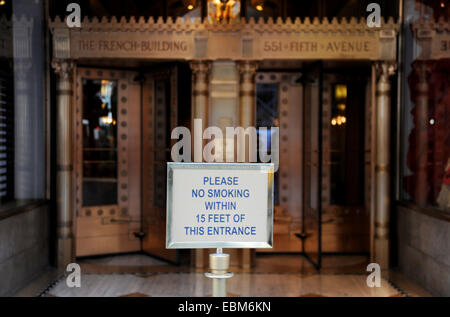 Manhattan New York USA November 2014  - No Smoking within Fifteen Feet of this entrance at French Building Fifth - Stock Photo