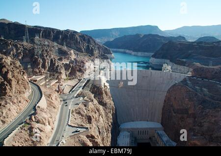 Aerial view of the Hoover Dam in Nevada , USA - Stock Photo